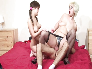 Sexy mom in stockings with ugly face & young couple