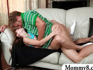 Mature MILF catches teen couple fucking