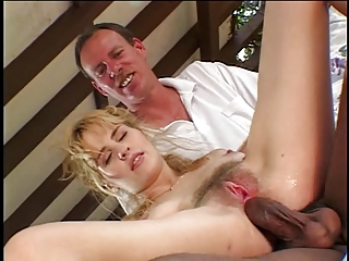 Soft c-cup blonde kneels to suck two black cocks then both dudes fuck her pussy